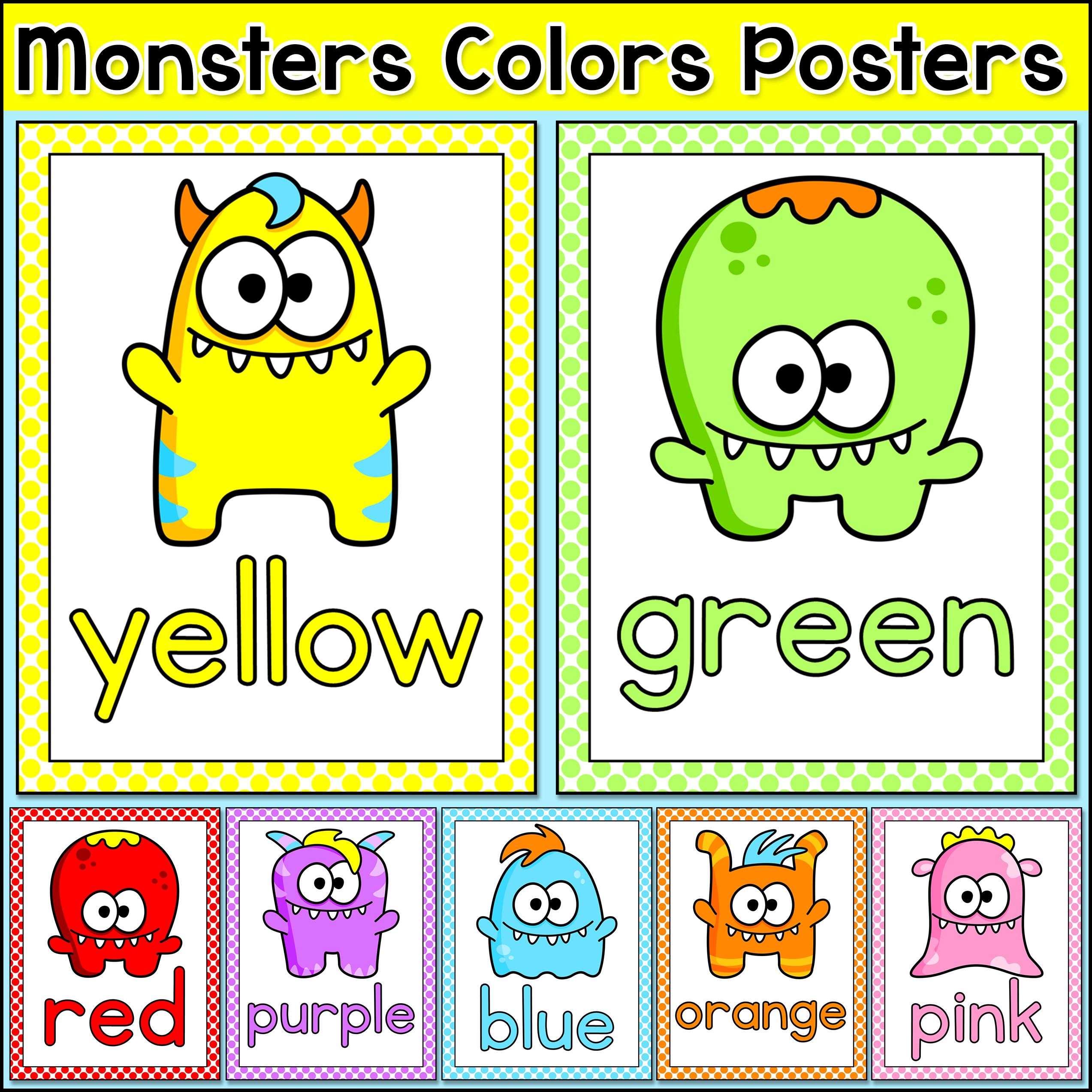 Monster Classroom Decor : Colors posters monster theme classroom decor
