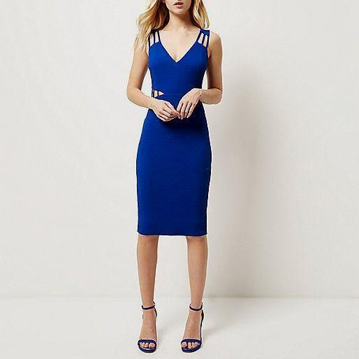 Bright blue cut out      Bright blue cut out waist bodycon dress - bodycon dresses - dresses - women | £35