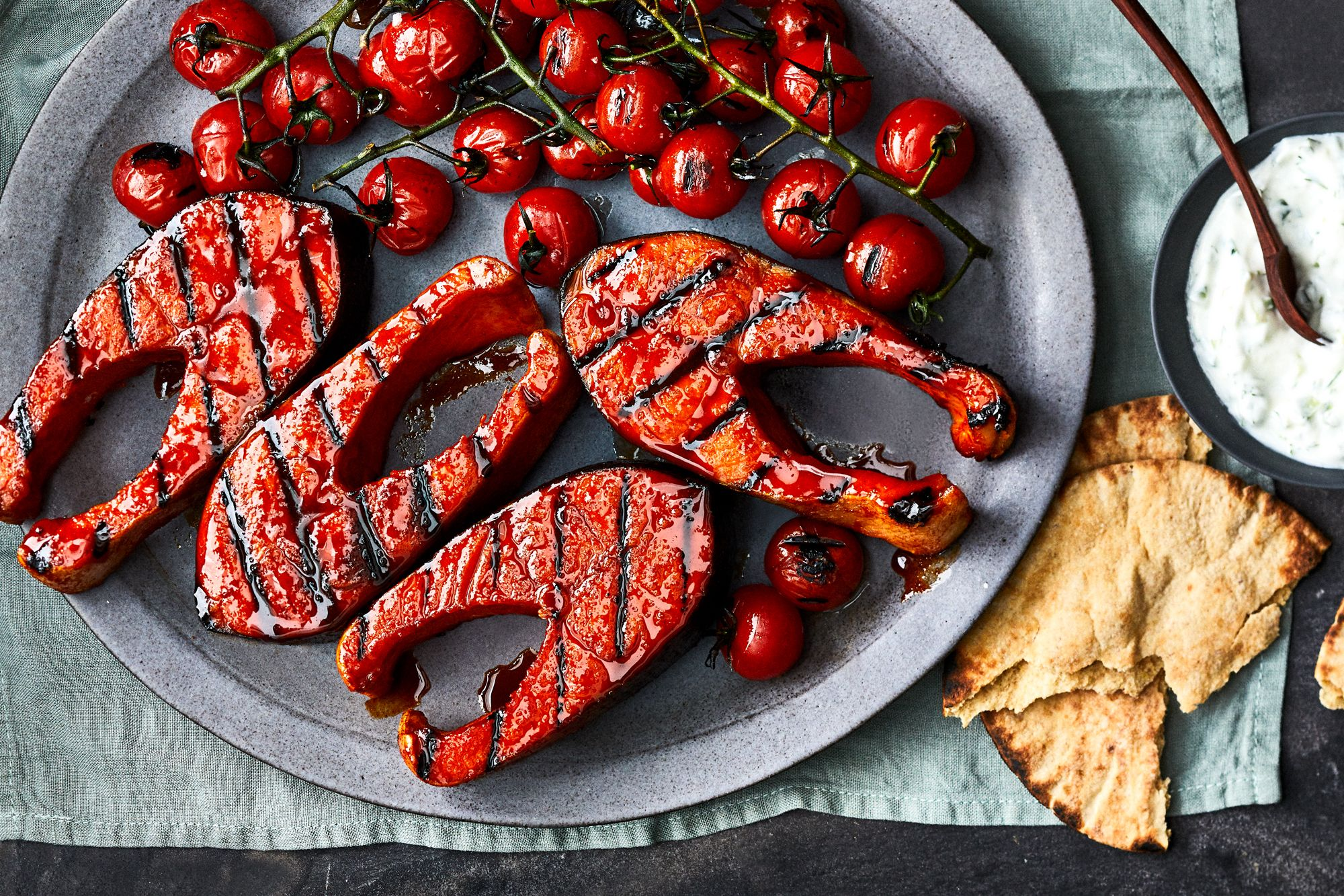 31 Recipes To Make In May In 2020 Salmon Steak Grilled Tomatoes Tzatziki Recipes