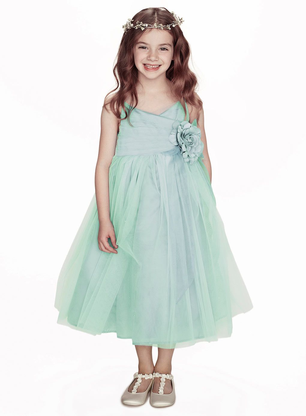 Pale blue flower accented pleated tulle flower girl dress at dresshop you will find affordable flower girl dresses australia online izmirmasajfo Choice Image