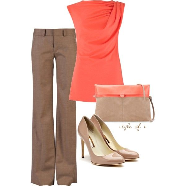Tan and Coral - cute office attire   # Pin++ for Pinterest #