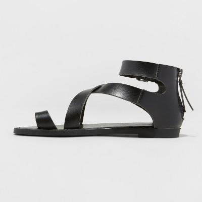 Universal Thread Black Faux Leather Maribella Toe Wrap Gladiator Sandal Size 6