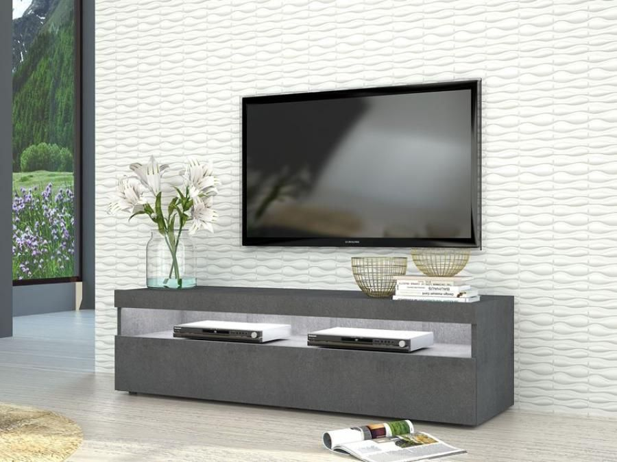 Burrata Modern TV Cabinet In Grey Report Finish, Two Sizes, Optional Lights