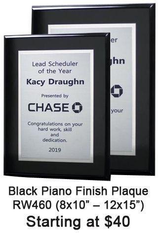 Corporate Award Plaque - Glossy Black Piano Finish - choose ...