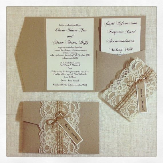 Rustic Lace Pocketfold Wedding Invitation – SAMPLE