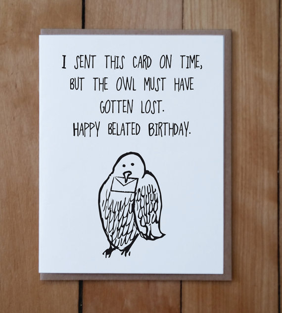 Owl Mail Belated Birthday Harry Potter Inspired Card Happy