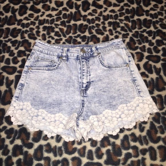 Charlotte Russe Lace Bottom Shorts These shorts are super cute. I only wore them a few times, so they are still in great condition!! Acid wash jean shorts, with lace detailing at the bottom. They are a size 2. high rise Charlotte Russe Shorts Jean Shorts