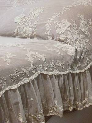 Dreamy Antique Tambour Applique French Net LACE Ruffled