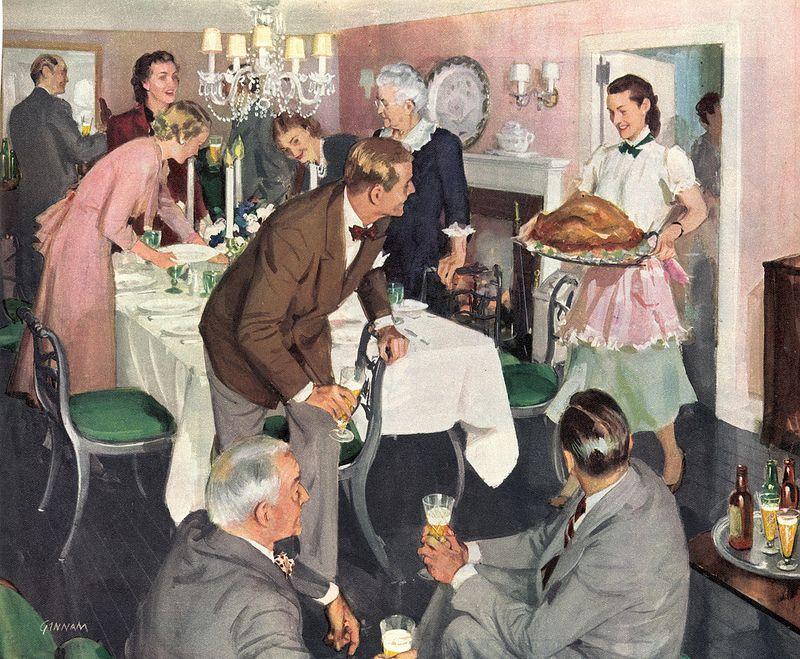 Serving up the scrumptious Thanksgiving turkey (1948).