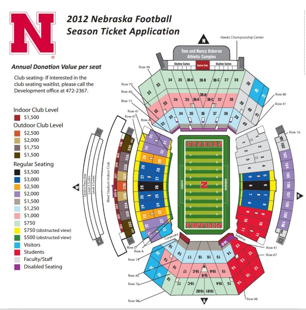 Elegant As Well As Lovely Nebraska Memorial Stadium Seating Chart In 2020 Nebraska Football Husker Football Season Ticket