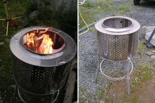 Stainless Steel Washing Machine Drum Used As Fire Pit Washing Machine Drum Fire Pit Old Washing Machine