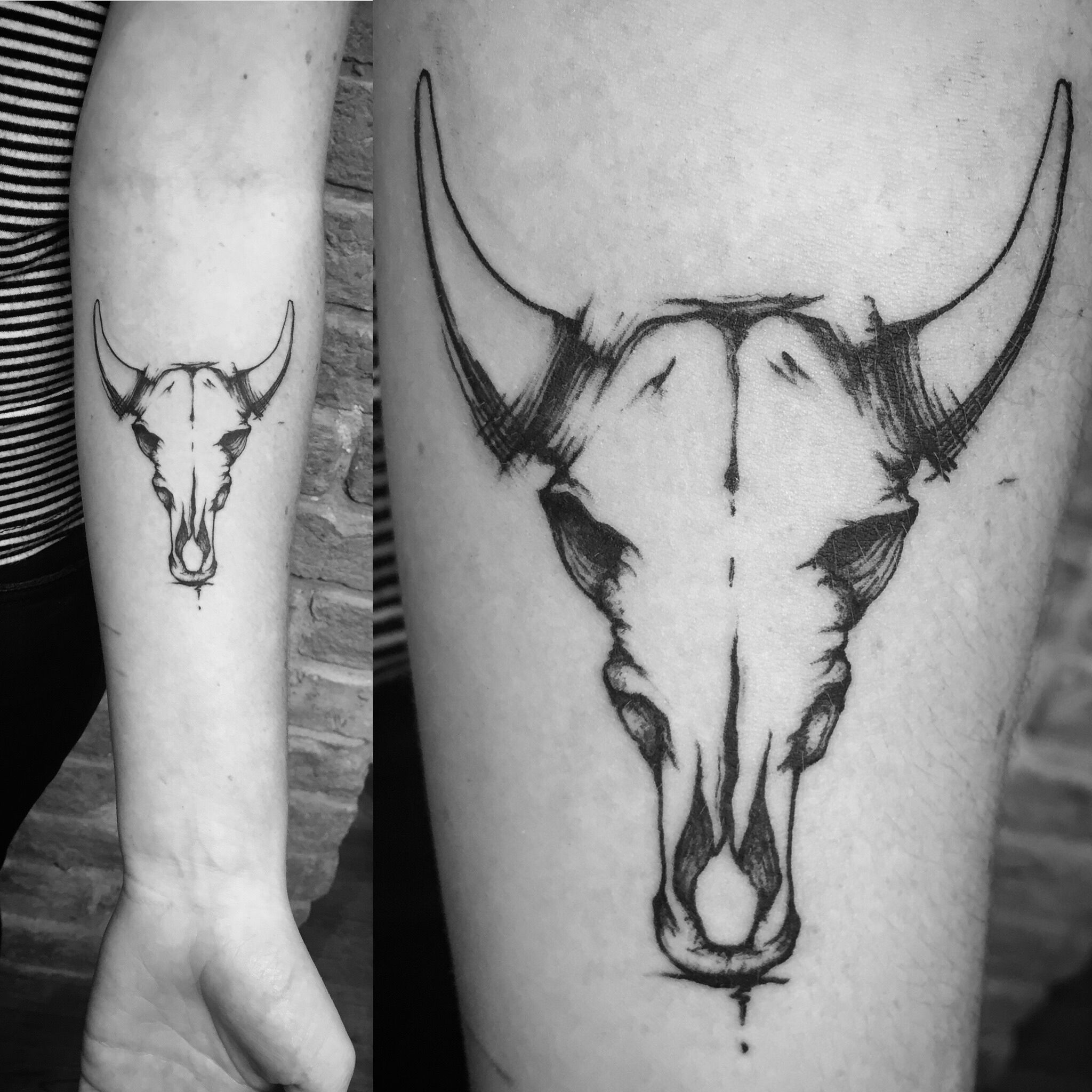 Bison skull tattoo thank you Esme skulltattoo forearmtattoo