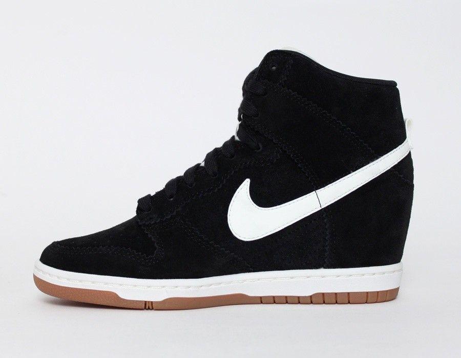 énorme réduction 8468a e0505 Compensées Nike Dunk Sky High Daim Femme couleur Noir Blanc ...