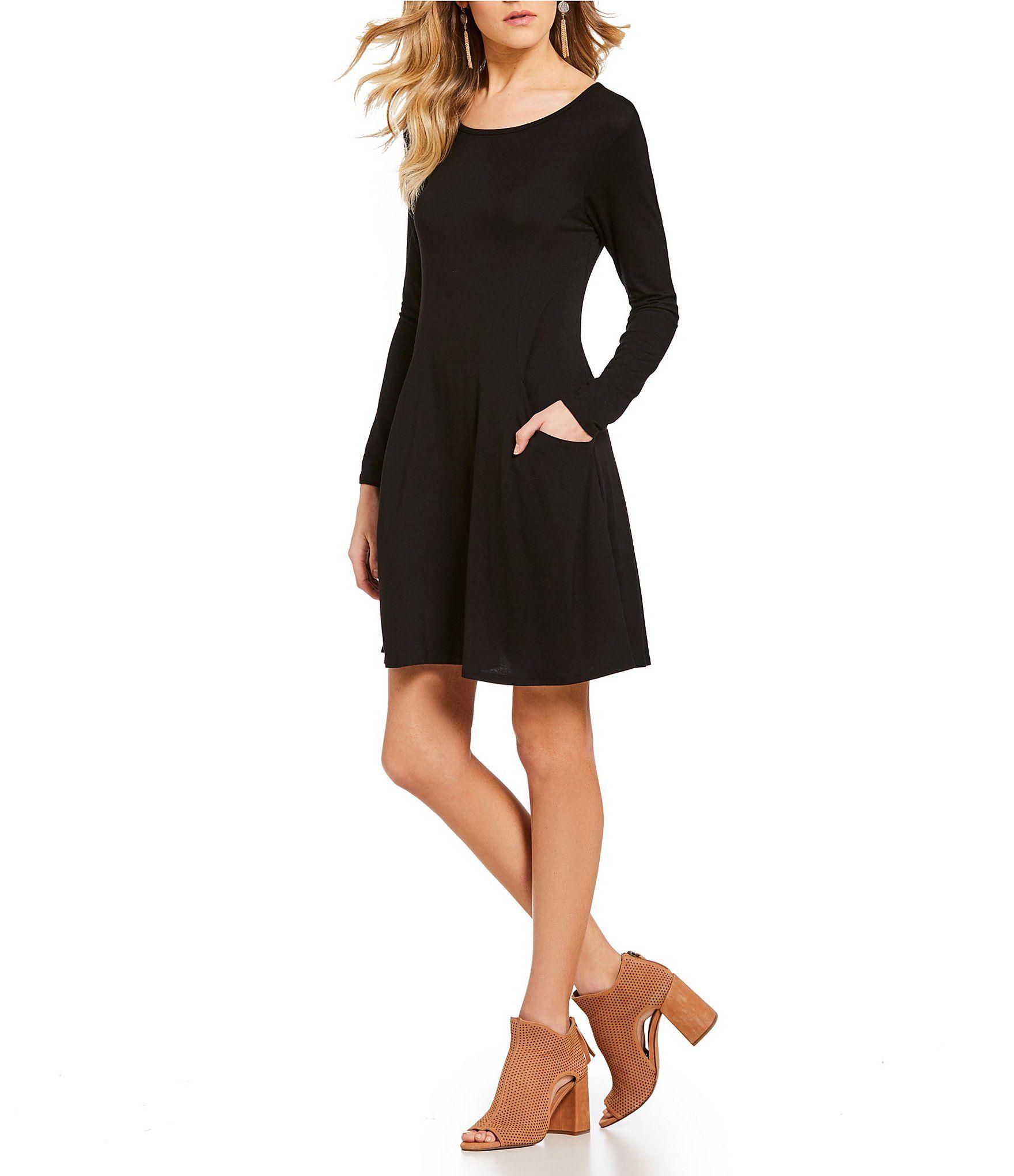 Moa moa long sleeve pocket swing dress dillards clothes