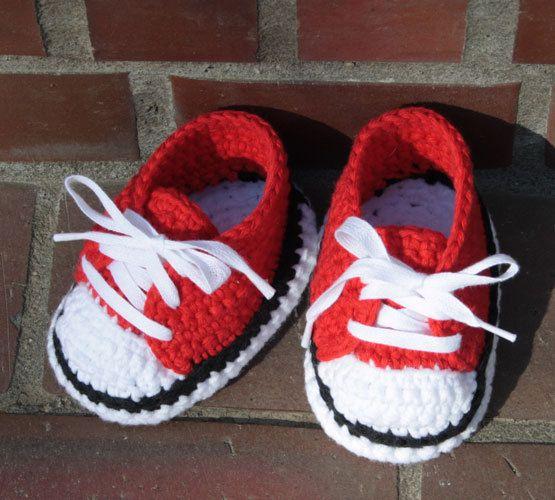 crochet all star baby booties