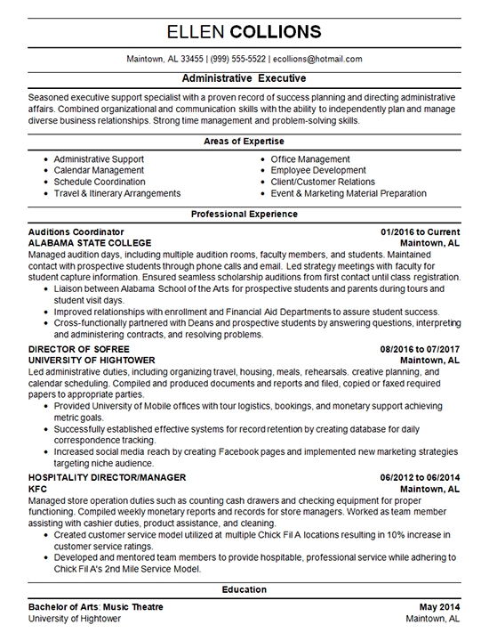 Administrative Manager Resume Template Manager resume