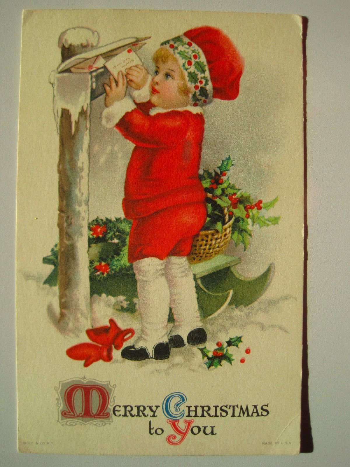 Cute Girl At Mailbox Mail Old Early 1900s Christmas Postcard Christmas Postcard Vintage Christmas Cards Victorian Christmas