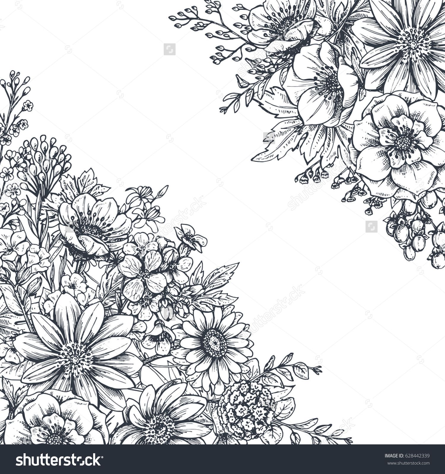 Floral backgrounds with hand drawn flowers and plants