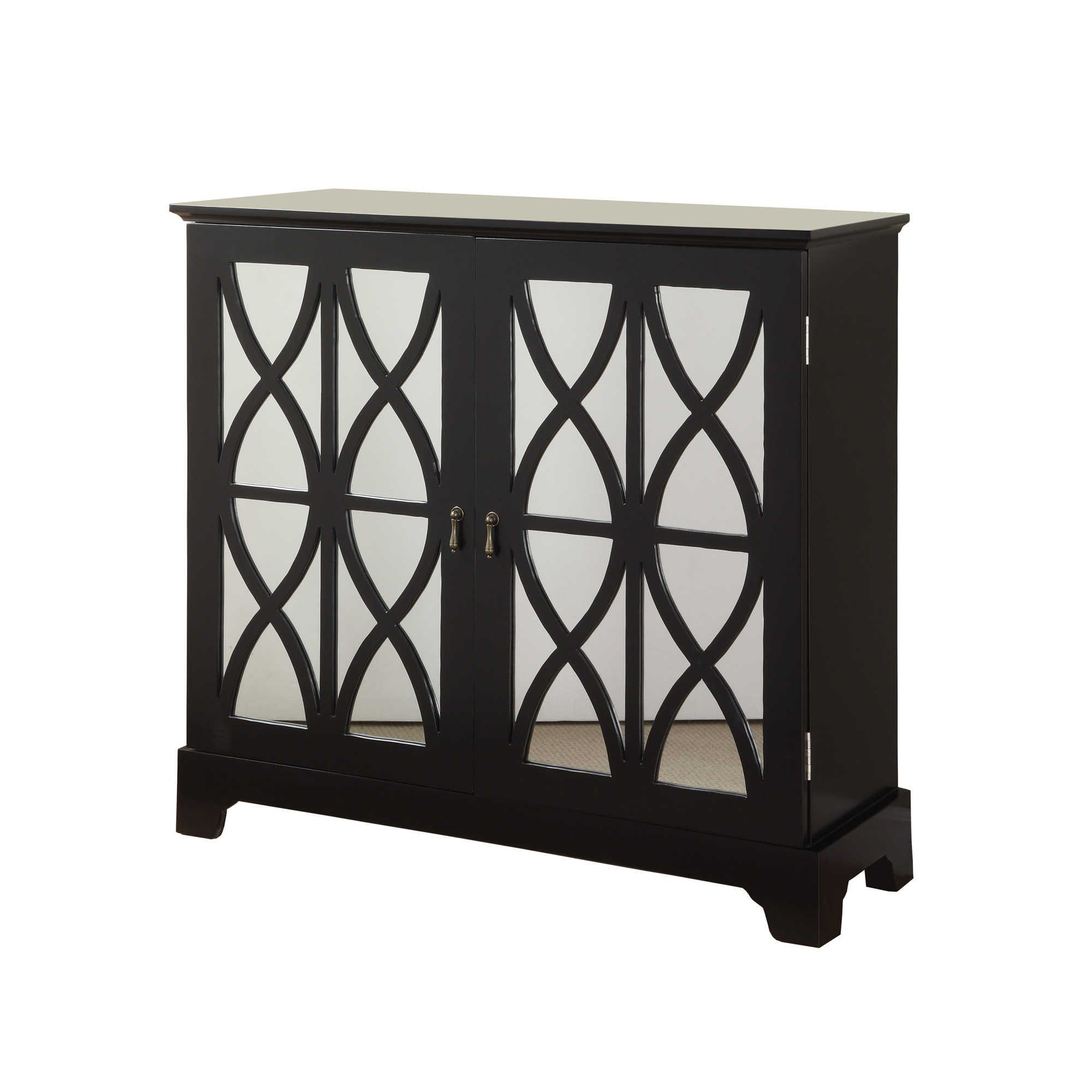 Nice Two Door Mirrored Cabinet. Product: Console Cabinet Construction Material:  Wood And Mirrored GlassColor: Black Features: Glass Mirrored Doors With  Curved ...