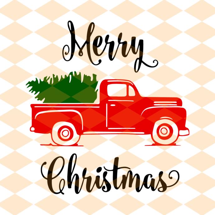Merry christmas, christmas truck tree, christmas truck svg