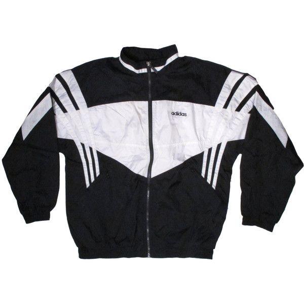 Vintage Adidas Black White WIndbreaker 3 Stripes Trefoil X
