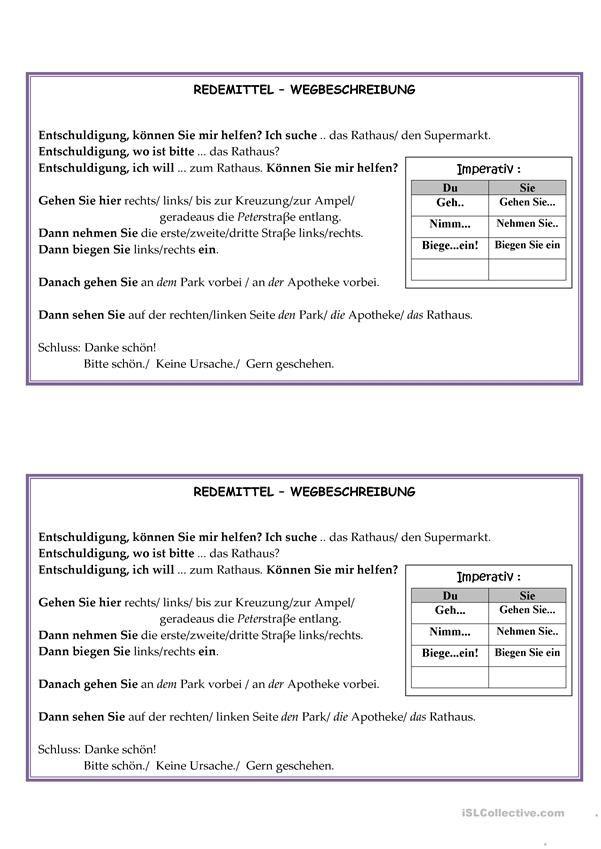 Redemittel Wegbeschreibung | Wegbeschreibung, Deutsch und Richtig ...