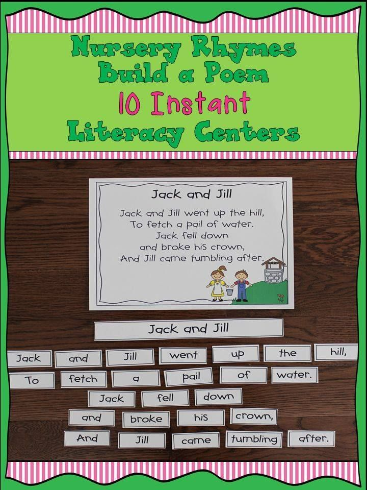 Engaging Literacy Center:Nursery Rhymes Build a Poem. A great way for student to practice reading fluency while working with a partner or alone!