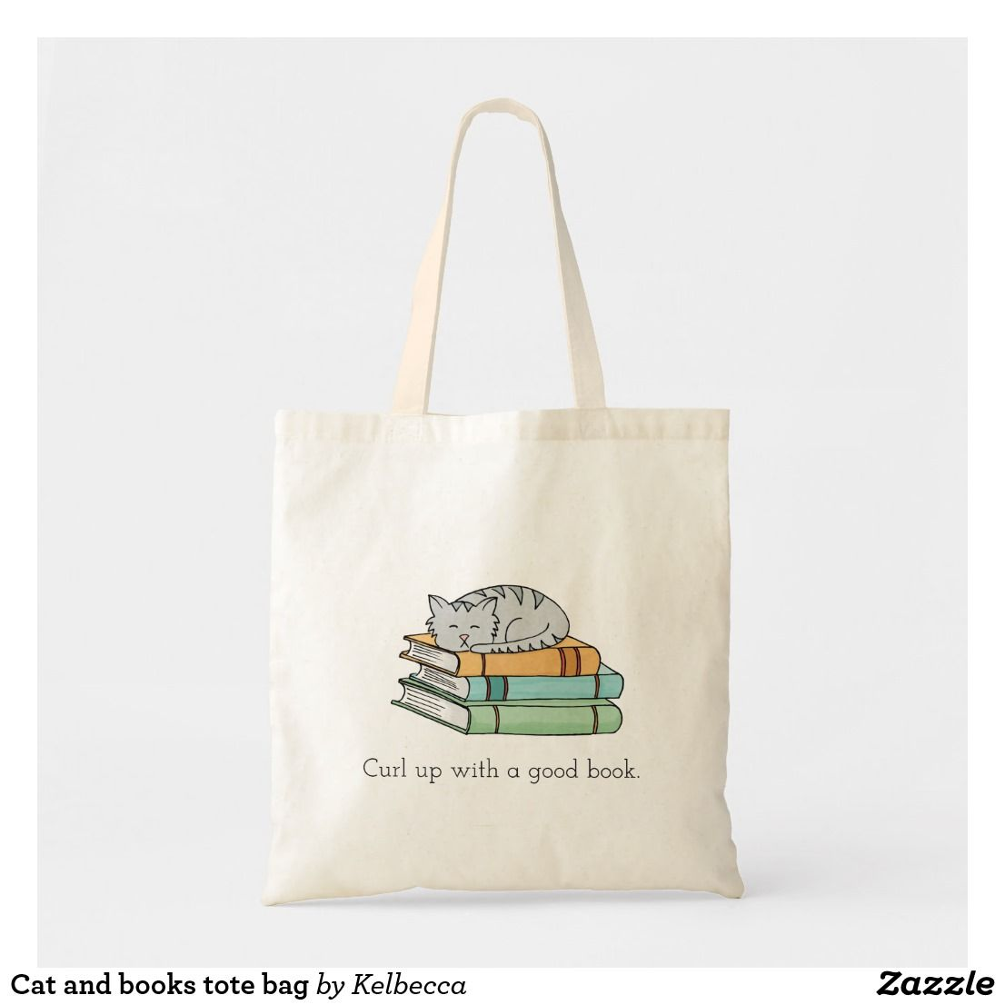Cat And Books Tote Bag Zazzle Bags