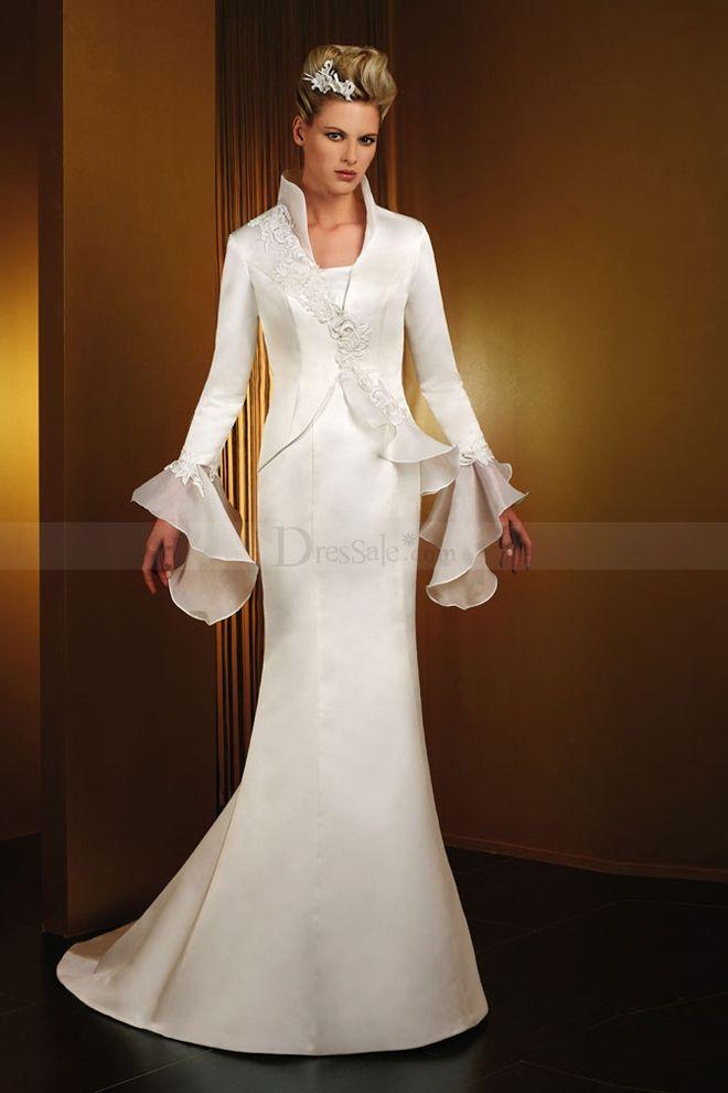 High collar wedding dress  Bride Over 50 Style Ideas