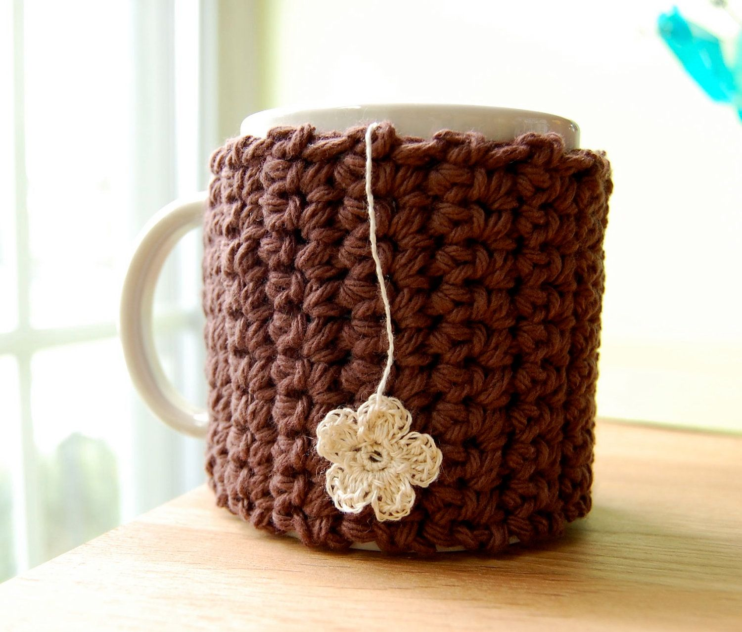 Flower Tea Mug Cozy Brown Crocheted Cup Cosy. $15.00, via Etsy.