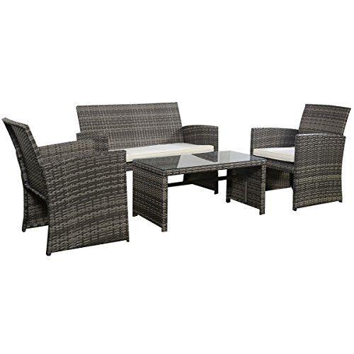 Goplus 4 Pc Rattan Patio Furniture Set Garden Lawn Sofa Cushioned