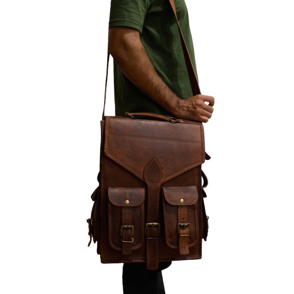 Men/'s Real Leather Carry On Backpack Laptop Bag Large Hiking Travel Camping New.