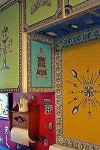 The spaces over above and around Howellu0027s stove are covered in decoupage. : decoupage kitchen cabinets - Cheerinfomania.Com