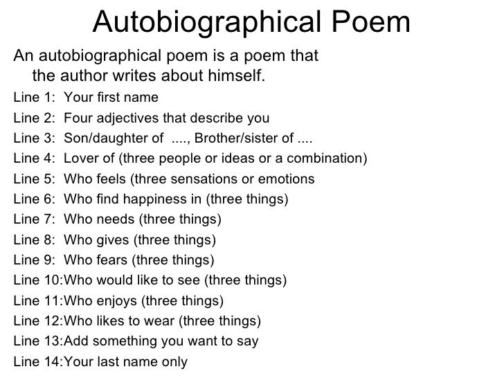 example of a student autobiographical poem with rules - Poem Essay Examples