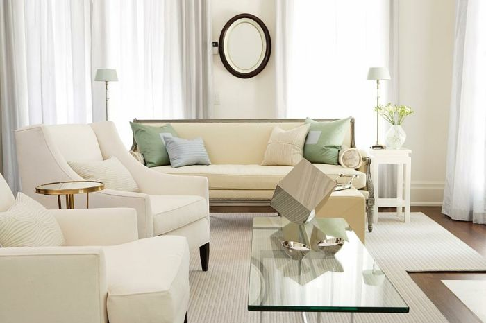 wohnzimmer einrichten weiße teppiche polsterung sofa sessel - wohnzimmer spiegel modern