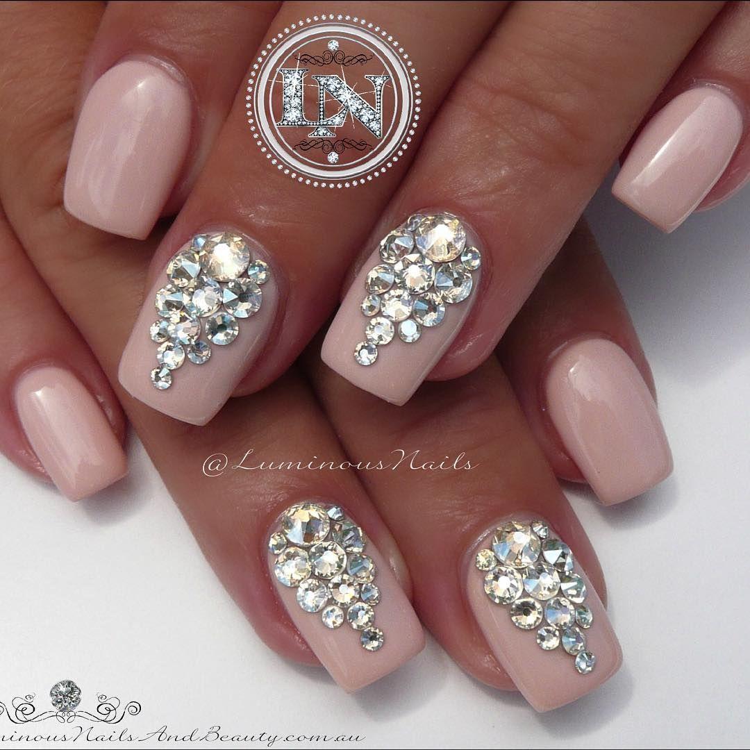 �bridal nails ���� wedding bling acrylic overlay with