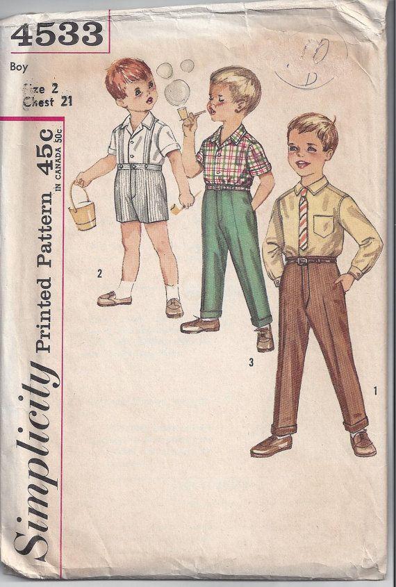 Simplicity 4533 Pattern for Boys\' Shirt, Shorts & Pants, Size 2 ...