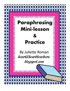 Practice Paraphrasing A Mini Lesson Tpt Teaching Student