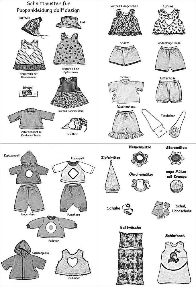 °°35 Schnittmuster Puppenkleidung für Baby Puppen 43cm°°