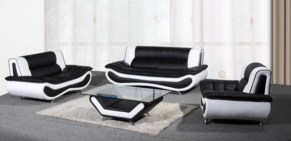 Napoli Leather 3 2 Seater Sofa Coffee Table Armchair Black White