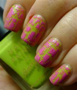 Pretty pink and green crackle. (: