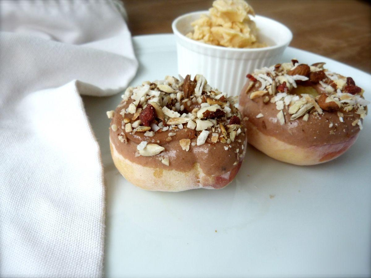 peach 'donuts' with toasty coconut almond glaze