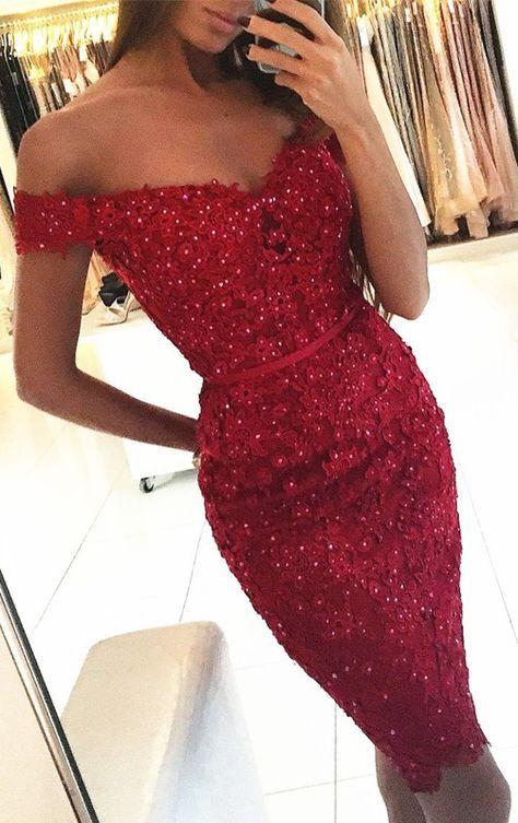 Red Short Tight Wedding Dresses