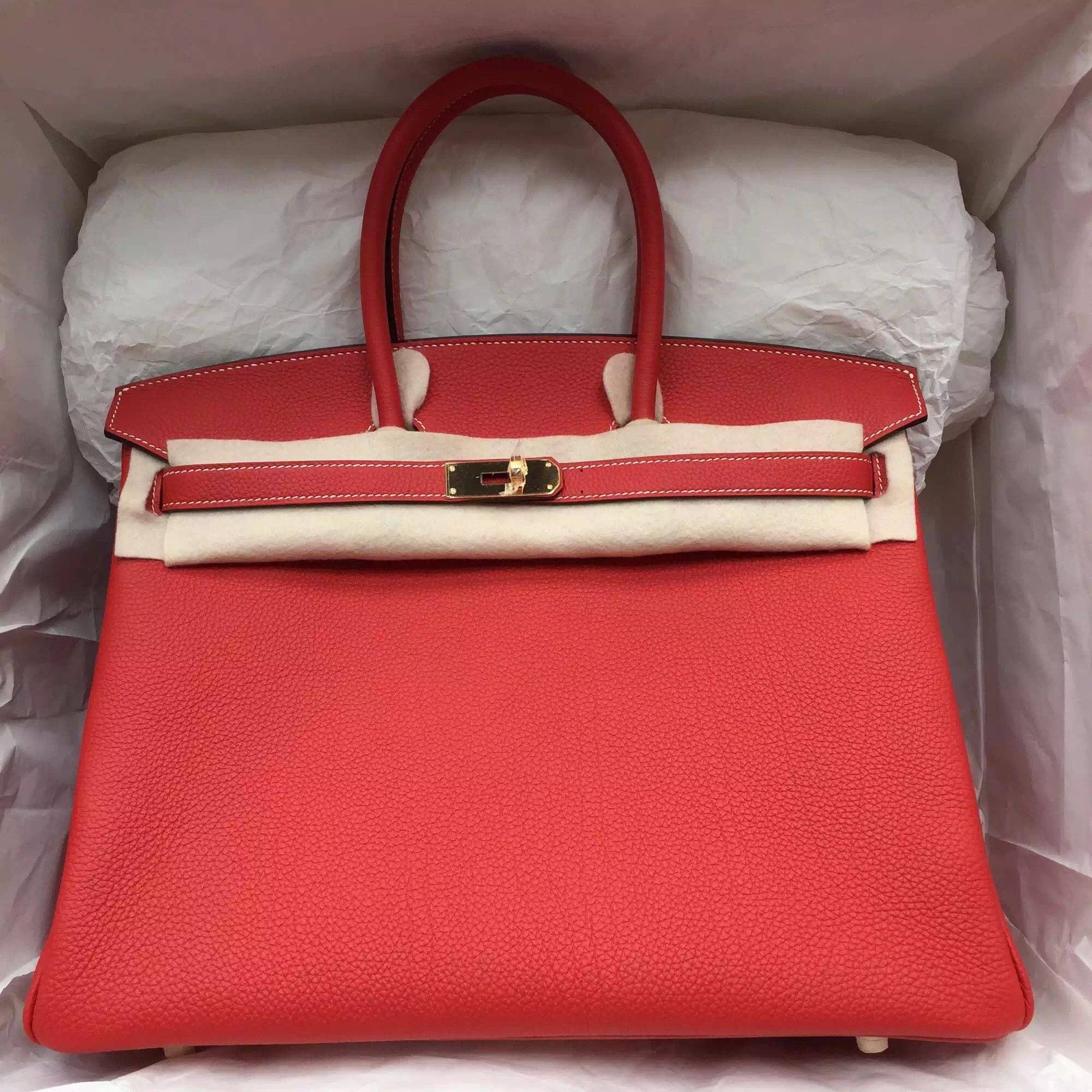 Fashion 35CM Hermes Birkin Bag D5 Geranium Color Togo Leather with White  Thread d0161815d97cc