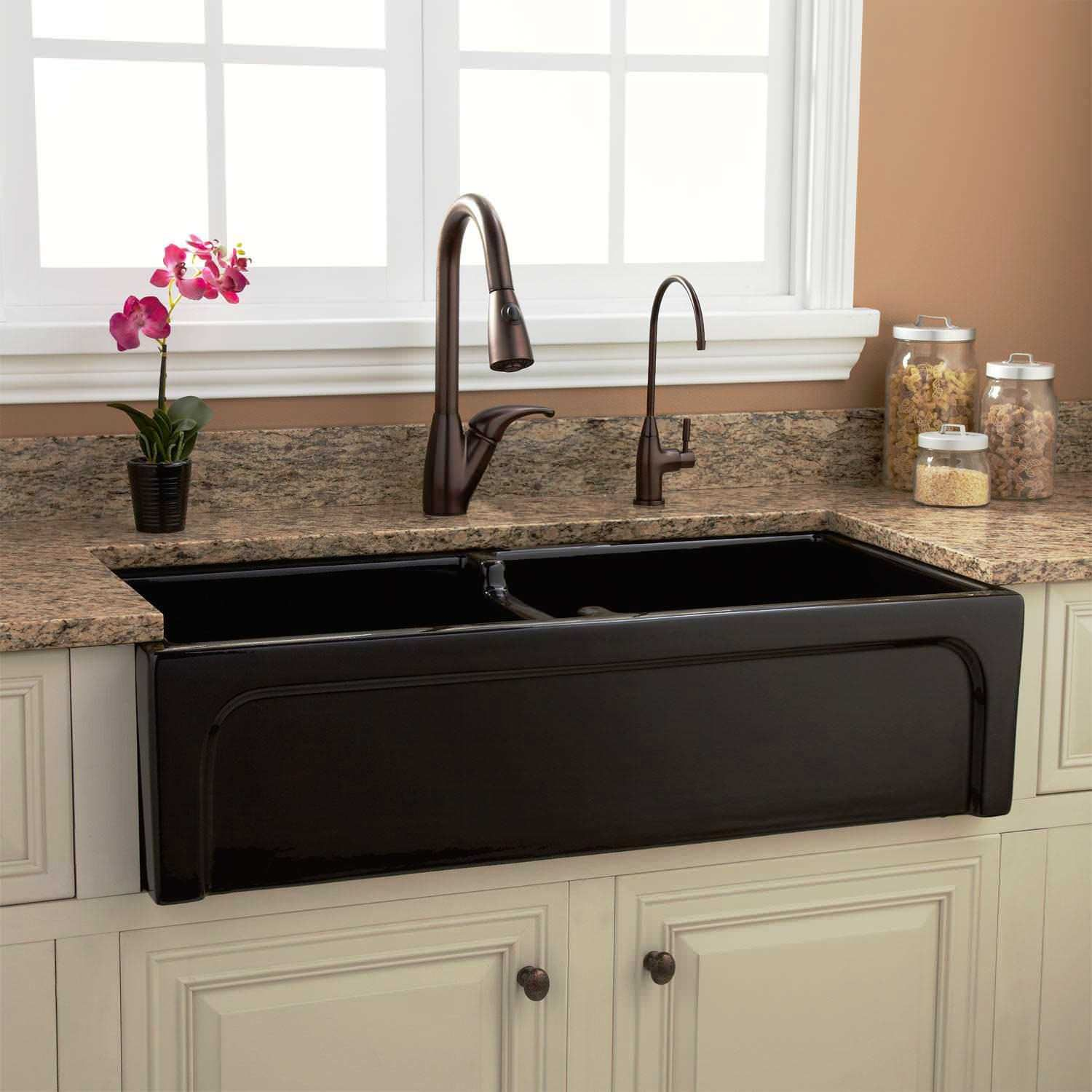 Fantastic Farmhouse Sinks For Sale: Rectangle Dark Double Bowl ...