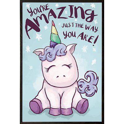 Zoomie Kids  Unicorn Amazing  Graphic Art Print Format  Walnut Wood Framed 945d26551bbb