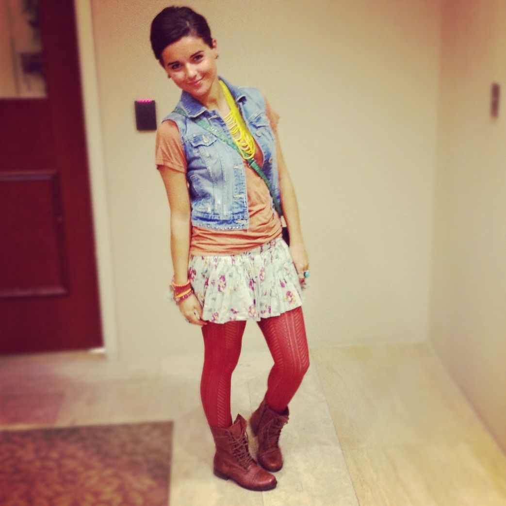 Pink dress with jean jacket  a fun outfit jean jacket floral mini boots with tights  Outfit