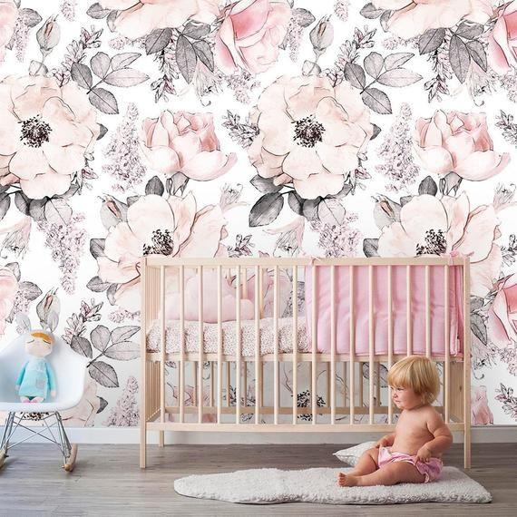 Removable Peel n Stick Wallpaper, Self-Adhesive Wall Mural, Watercolor Pink Floral Pattern, Nursery Room Decor • Girls Peonies & Roses