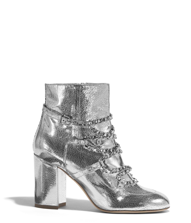 Laminated Goatskin Silver Short Boots