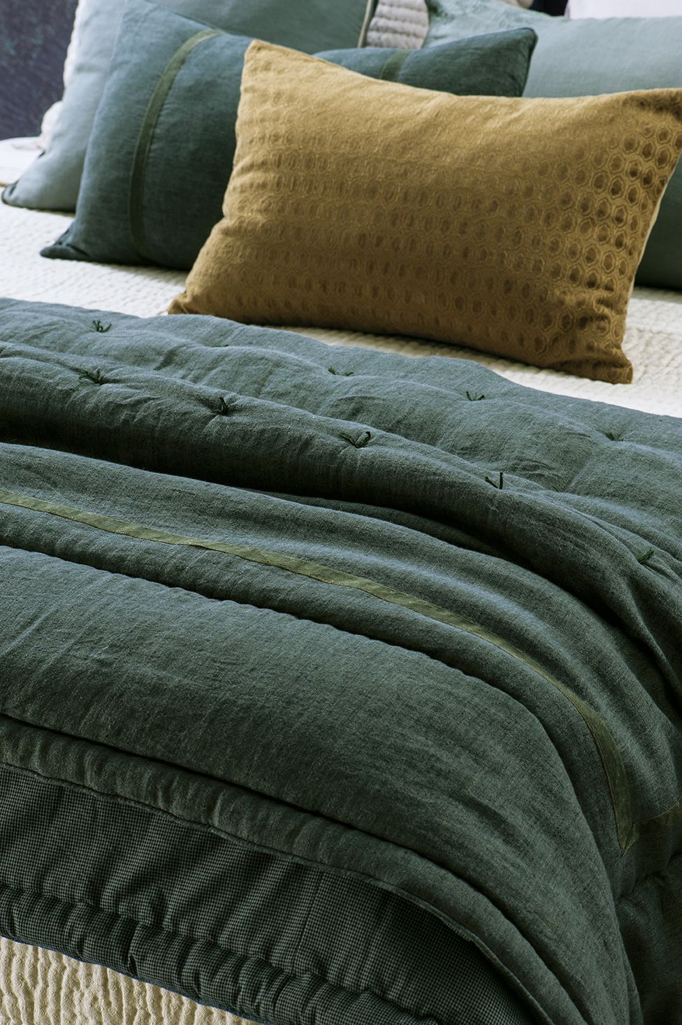 Luchesi Storm Comforter Pictured With Lilypad Olive Cushion And